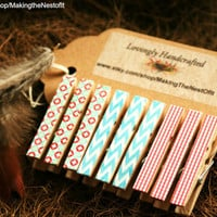 Clothespin Magnet Clips - Set of 9 sweetly patterned mini clips