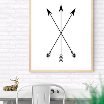 Arrows Printable, Cross Arrows Instant Download, Hunting Arrows, Tribal Art Print, Traditional Arrows, Living Room Decor, Hunter's Gift