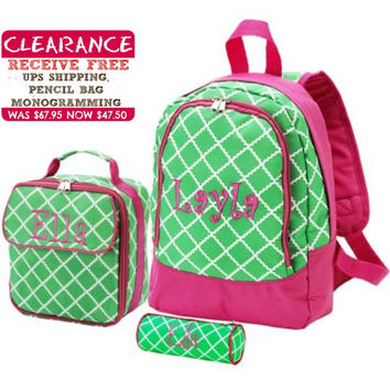 Personalized With Embroidery Pink and Green Academy Print Preschool Backpack and Lunch Bag Set Free Pencil Bag and Shipping