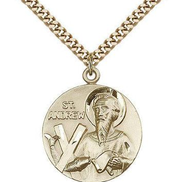 "Saint Andrew Medal For Men - Gold Filled Necklace On 24"" Chain - 30 Day Money... 617759714319"