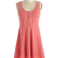 ModCloth Mid-length Sleeveless A-line Calm and Com-flirt-able Dress in Coral