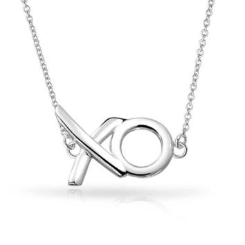 Hugs Kisses XO Station Pendant Charm Necklace High 925 Sterling Silver