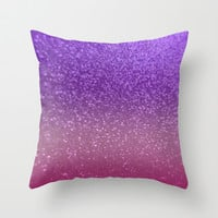 Gradient Glitter Purple Pink Sparkle Throw Pillow by xjen94