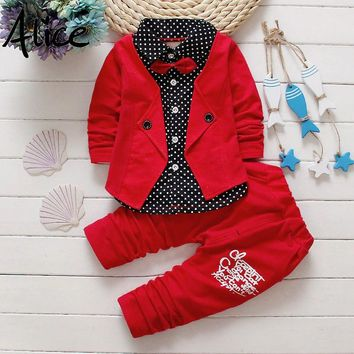Button Letter Bow Suit Clothing Sets for Boys
