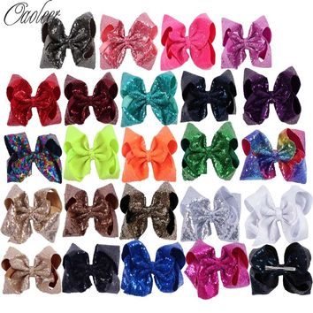 7 Inch Sequin Large Hair Bow With Clip