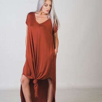 Basic Oversized Maxi Dress in Cinnamon