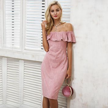 Off shoulder Ruffle Casual Pink Midi Dress