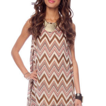 Ziggy Poncho Tunic in Pink and Brown :: tobi