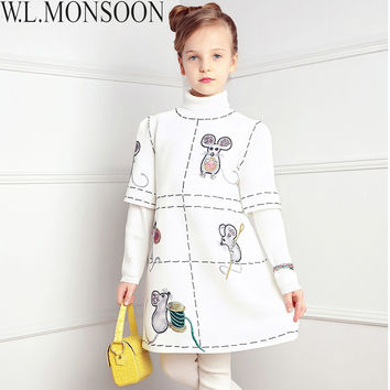 W.L.MONSOON Girls Dress Winter 2016 Brand Princess Dress Children Clothing Mouse Beading Kids Clothes Girls Dresses for Party