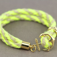 Anchor Wrap Bracelet : Neon Lime Green and Tan Rope Cord, Anchor, Nautical, Gold Plated, ArtisanTree