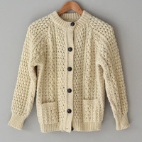 Bearnagh cardigan / cream 1960s sweater / vintage cream wool cardigan