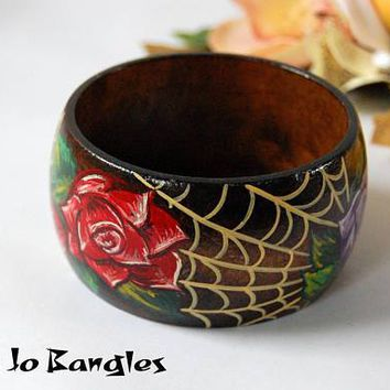 Rose & Cobweb Halloween Painted Bangle