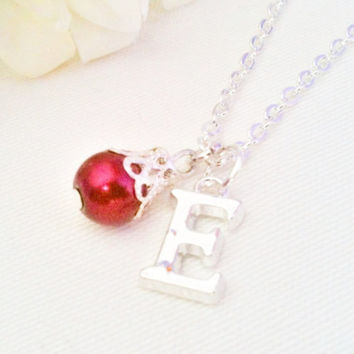 Custom Necklace, Initial Letter Necklace, Bridesmaid Necklace, Bridesmaid Jewelry, Burgundy Necklace
