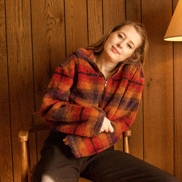 70s Plaid Teddy Bear Zip Up Jacket - teddy bear jacket teddy coat vintage plaid teddy coat fuzzy sweater jacket 70s sweater 70s plaid jacket