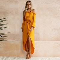 Yellow Sashes Irregular Ruffle Boat Neck Long Sleeve Maxi Dress