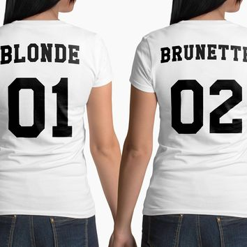Fashion Brunette Blonde Printed BBF Best Friend T Shirt Women Sister Short Sleeve Loose Shirt Funny Graphic Tee Summer Top