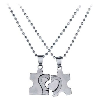 2 pcs/pair Cute Full Hearts Puzzle Pendant Necklace for Lover New Couple Jewelry Stainless Steel Free Shipping