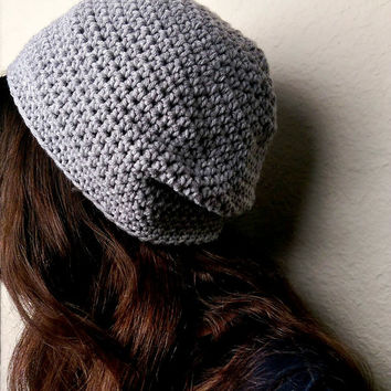 Crochet Slouchy Beanie, Crocheted Slouch Beanie, Crochet Hat, Women Crocheted Beanie, Simple Crochet Beanie, Grey Crocheted Hat, Gray Beanie