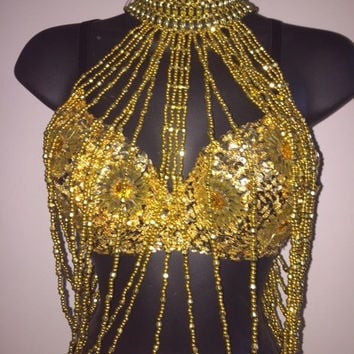 Women's Sexy Gold Blinged Out Sequin Tassel Daisy Bra & Tassel Body Chain Top, Rave, EDC Costume, Belly Dancing, Edm,Festival,Rave outfit