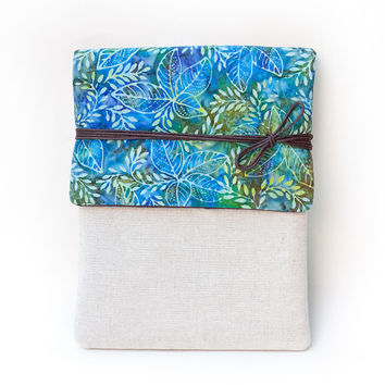 Blue Waxed Floral Cotton Canvas Kindle Cover or iPad Case, Made to Order