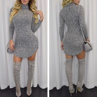 Fashion Simple Solid Color Bodycon Turtleneck Long Sleeve Irregular Mini Dress