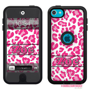 100% Genuine Monogrammed OTTERBOX DEFENDER for iTouch 5 Ipod 5th Hot Pink Cheetah Leopard Animal Print Device Case