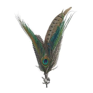 Peacock  Pheasant Feather Hat Pin with Pheasant Medallion