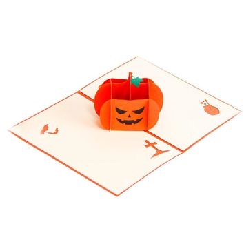 Halloween Pumpkin 3D Pop Up Greeting Card Handmade Gift Card for Kids Birthday Wedding Festival Wish 15x10cm