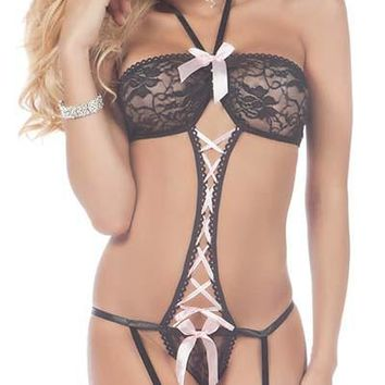 Trapeze Velour Strapped Lace-Up Gartered Teddy with Stockings