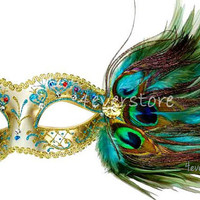 Golden Peacock Masquerade Mask with Gems, Glitter and Peacock Feathers