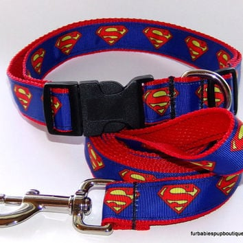 Best seller! Superman on red webbing- adjustable dog collar and leash set- Choose YOUR size.