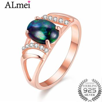 Almei 1ct Black Opal Beads Rose Gold Filigree Rings Tested 925 Sterling Silver Costume Gemstone Jewelry for Women with Box CJ030