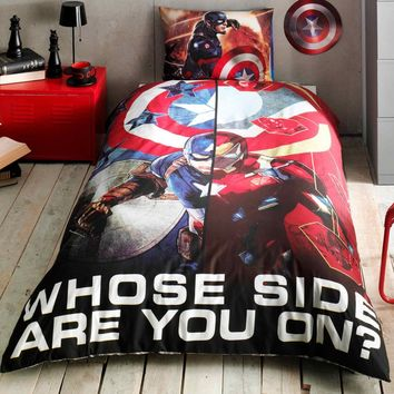 %100 Cotton Captain America Movie Theme licensed Bedding Set Single / Twin Best Seller Set Collection