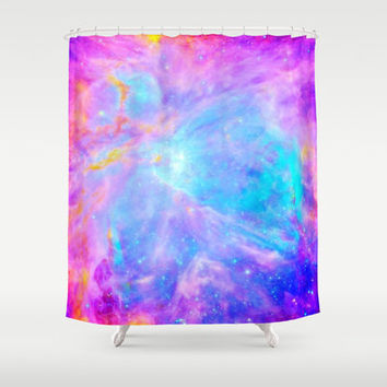 Galaxy Shower Curtain, Pink Blue Lavender Orion Nebula, Rainbow Shower Curtain, Bathroom Decor, Home Decor, Colorful Galaxy Print