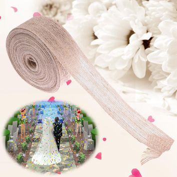10 M Burlap Ribbon Vintage Wedding Centerpieces Decoration Sisal Lace Trim Jute Hessian Rustic Event Party Cake Supplies