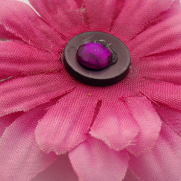 magenta flower hair clip- summer accessories- flower girl hair