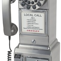 Crosley 1950's Retro Payphone -Comes in Black, Pink, Red and Brushed chrome - Whimsical & Unique Gift Ideas for the Coolest Gift Givers