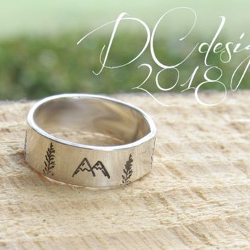 Mountain Ring, Mountain Jewelry, Nature Jewlery, Sterling Silver Rings, Engraved Ring, Custom Ring, Personalized Ring, Personalised Gift