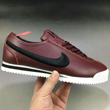 NIKE Classic Cortez Leather Men Fashion Casual Running Sport Shoes Sneakers Wine red G-XYXY-FTQ