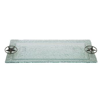 Thirstystone Western Star Hammered Glass Serving Tray (Clear)