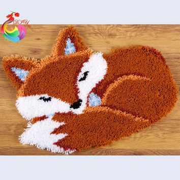 Sleeping Fox Latch hook rug kits crochet hooks Carpet embroidery Stitch threads Set for embroidery hobby craft embroidery diy