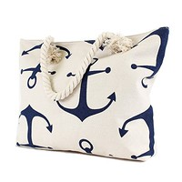 Anchors Aweigh - Large Canvas Beach Tote Bag - White with Navy Blue Anchors - 21-in