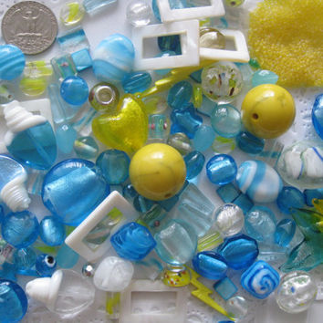 Summer Sky Mix Over 135 Pcs Assorted Blue Yellow White Beads Pendant for Jewelry Making Crafts Arts
