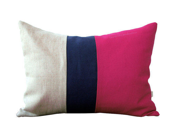 Navy And Pink Decorative Pillows: Hot Pink Color Block Pillow With Navy And From