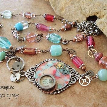Long Boho Industrial Chic Wirework Mixed Media Altered Art Steampunk Vintage Charm Necklace Jewelry, Bohostyleme Designs by Kaye Kraus