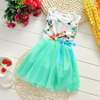 Factory price- girls summer dress sleeveless flower baby girl dresses veil tired tutu skirts kids clothing children lacecdress