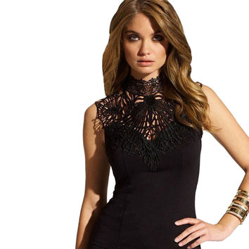 Female Tank Tops Sexy Lace Turtleneck Tops Chiffon Slim Sexy Sleeveless Camisole Tank Tops Women Halter Sexy Hollow Vest
