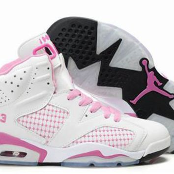 Hot Air Jordans 6 Women Shoes Embroidery White Pink