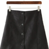 Black Suede Button Up Mini Skirt