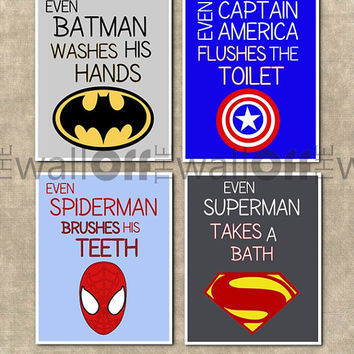 Superhero Bathroom Art Prints - Set of 4 8x10 - Captain America, Batman, Spiderman, Hulk, Iron Man, Superman, Flash, Green Lantern, etc.